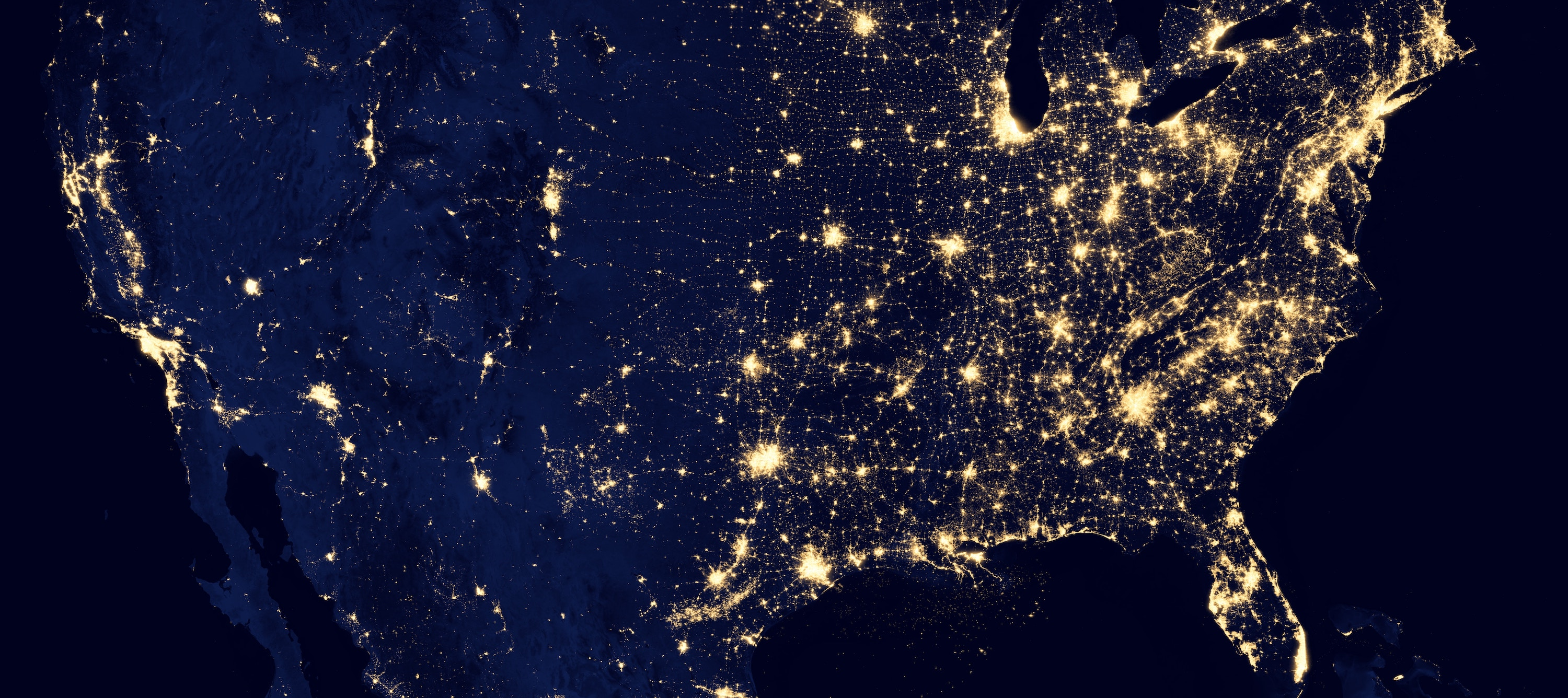 United States at night as seen from space