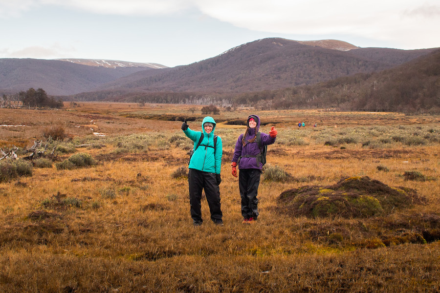 2 students in Patagonia conducting field work
