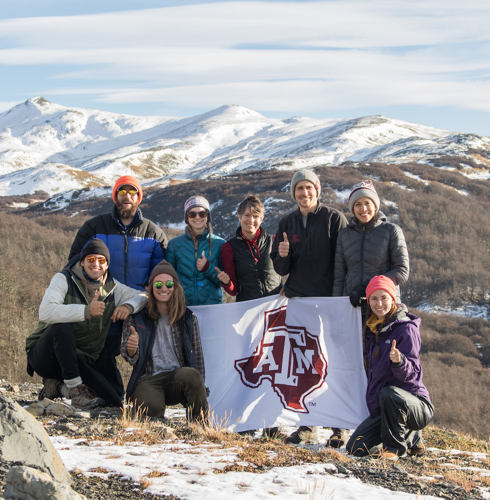 Julie Loisel and students in Patagonia